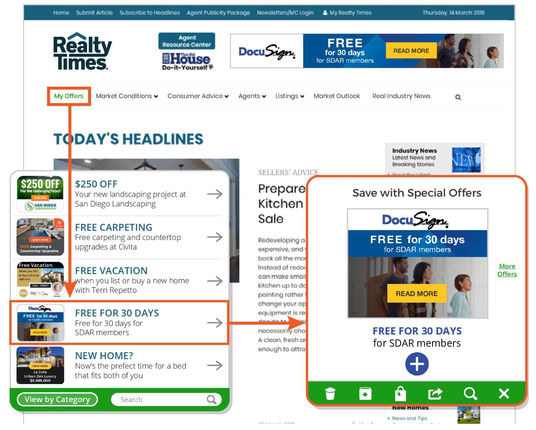 Realty Times Ad Persistence banner ad system